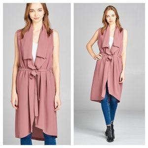 Sleeveless shawl waist belt Jacket